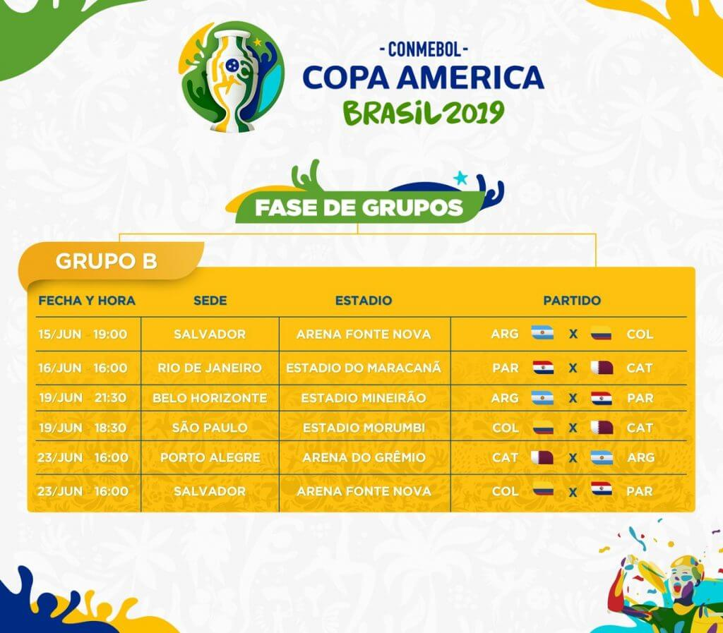 calendario copa america 2019 grupo b