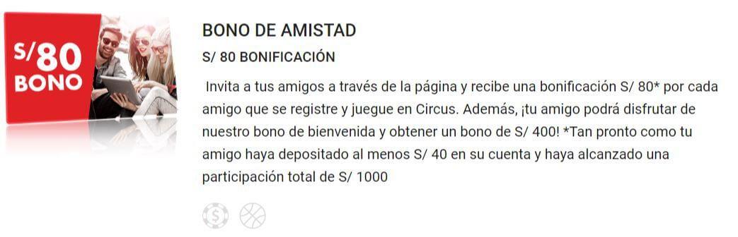 bono de amistad circus perú