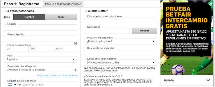 Betfair Registrarse